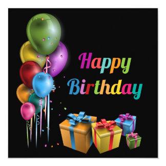 Happy Birthday tarjeta Invitación 13,3 Cm X 13,3cm