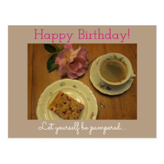 Happy Birthday with Cake coffee & homemade cresa Postal