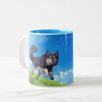 Happy day mug - finlandés Lapphund Taza De Café De Dos Colores