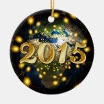 Happy New Year 2015 Adorno Navideño Redondo De Cerámica