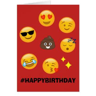 #HAPPYBIRTHDAY rojo de la tarjeta de Emoji