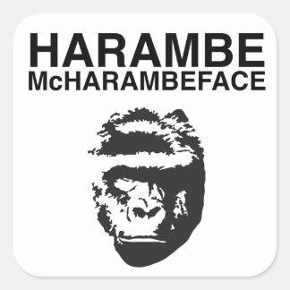 Harambe McHarambeface Pegatina Cuadrada