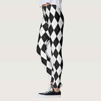 Harlequin blanco y negro leggings