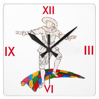 harlequin de comedy del arte reloj cuadrado