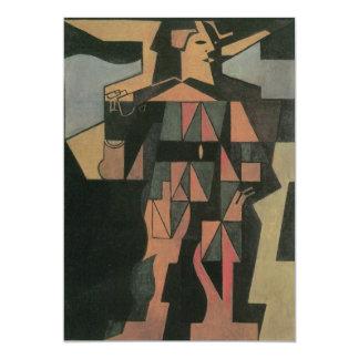 Harlequin de Juan Gris, arte del cubismo del Invitación 12,7 X 17,8 Cm
