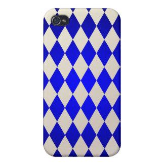 Harlequin de PixDezines, azul+Blanco iPhone 4 Cobertura