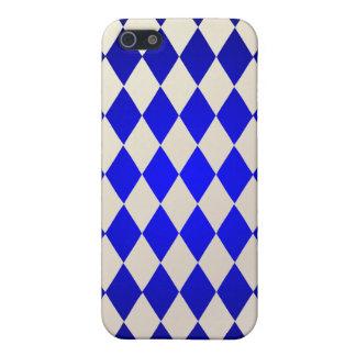 Harlequin de PixDezines, azul+Blanco iPhone 5 Cárcasa