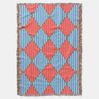 Harlequin-Diamante-Edredón-Diseño-Azul-Naranja Manta Tejida