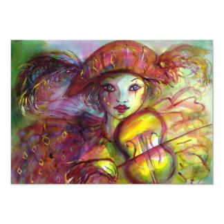 HARLEQUIN/mascarada/carnaval venecianos Invitación 12,7 X 17,8 Cm