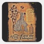 Harlequin y aleta (cologne) del carnaval pegatina cuadrada