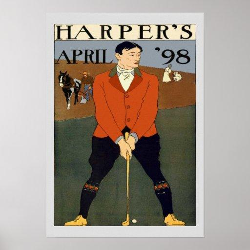 Harpers de la portada de revista del golf del vint impresiones