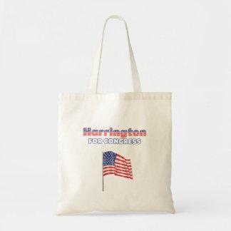 Harrington para la bandera americana patriótica de bolsas lienzo