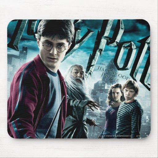 Harry Potter con Dumbledore Ron y Hermione 1 Tapete De Raton