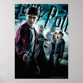 Harry Potter con Dumbledore Ron y Hermione 1 Póster