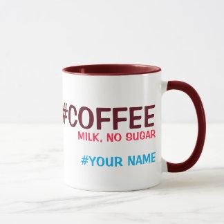 Hashtag personalizó, con su opción de la bebida taza