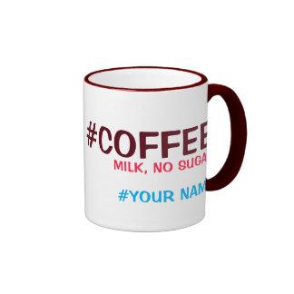 Hashtag personalizó, con su opción de la bebida taza de dos colores