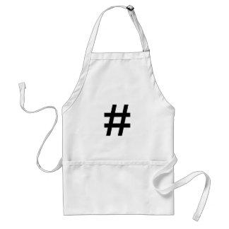 #HASHTAG - símbolo negro de la etiqueta del hachís Delantal