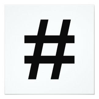 #HASHTAG - símbolo negro de la etiqueta del hachís Invitación 13,3 Cm X 13,3cm