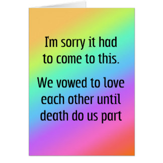 Hasta muerte háganos divorcio de la parte felicitacion