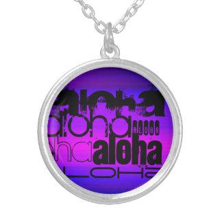 Hawaiana; Azul violeta y magenta vibrantes Colgante Redondo