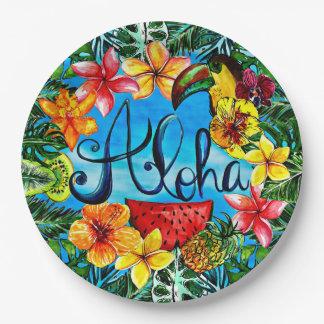 Hawaiana - comida tropical de la flor y diseño del plato de papel