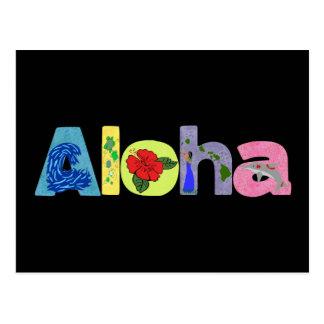 Hawaiana con la postal de las imágenes