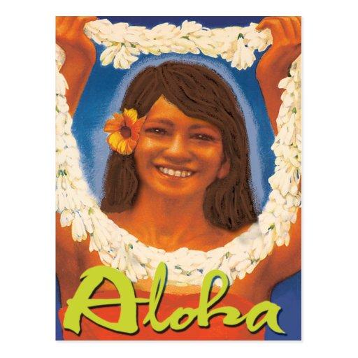 Hawaiana de los leus postal