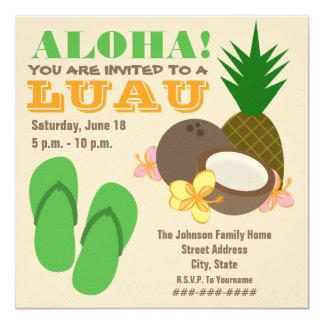 Hawaiana de Luau - hibisco del coco de los Invitación 13,3 Cm X 13,3cm