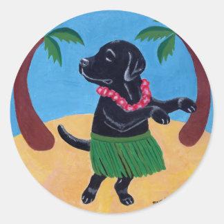 Hawaiana Labrador negro Pegatina Redonda