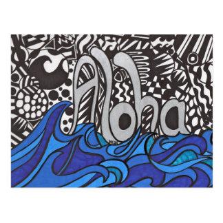 Hawaiana que dice con las ondas en la postal
