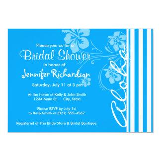 Hawaiana; Rayas verticales del azul de cielo; Invitación 12,7 X 17,8 Cm