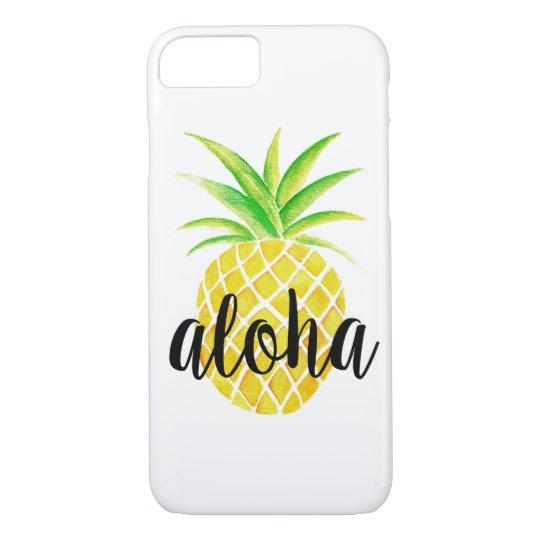 Hawaiana tropical de la acuarela de la piña funda iPhone 7