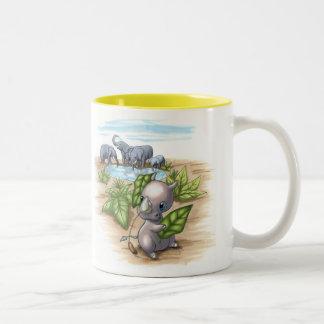 Hay un nuevo rinoceronte en taza del disfraz del