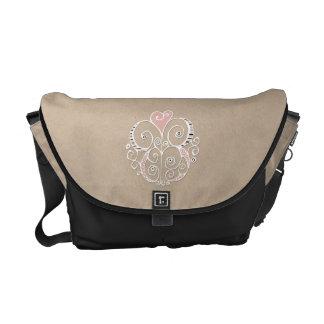 Heart Motif white kraft Medium Messenger Bag