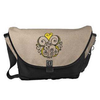 Heart Motif yellow kraft Large Messenger Bag