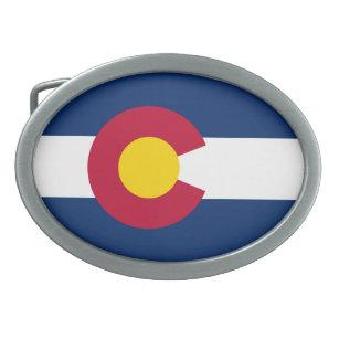 Hebilla De Cinturón Oval Bandera Estatal Patriótica de Colorado