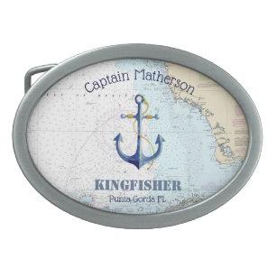 Hebilla De Cinturón Oval Capitán, nombre del barco y carta náutica del