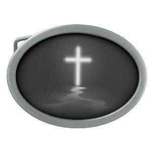 Hebilla De Cinturón Oval Cruz cristiana