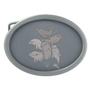 Hebilla De Cinturón Oval Delfínes juguetones
