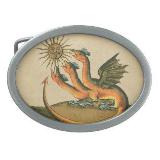 Hebilla De Cinturón Oval Dragones de la alquimia de Clavis Artis