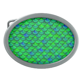 Hebilla De Cinturón Oval Escalas azulverdes de Falln