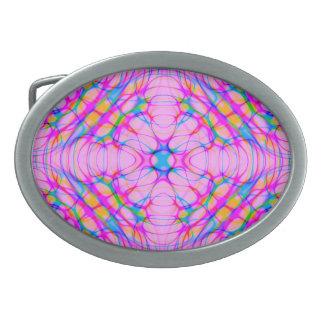 Hebilla De Cinturón Oval Extracto del modelo del caleidoscopio del rosa en