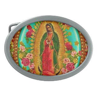 Hebilla De Cinturón Oval Nuestro Virgen María mexicano del santo de señora