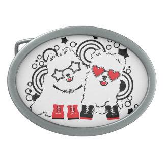 Hebilla De Cinturón Oval Perros divertidos. Festivos animales lindos