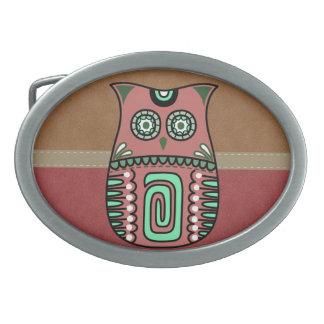 Hebilla De Cinturón Oval Personalizado bohemio del pájaro de Boho del búho