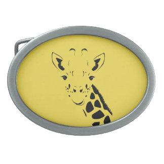 Hebilla De Cinturón Oval Silueta de la cara de la jirafa