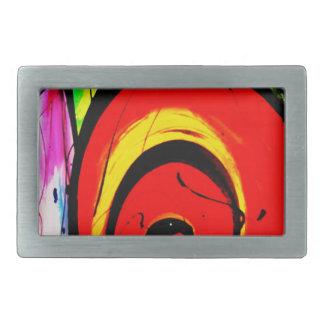 Hebilla De Cinturón Rectangular Arte abstracto del remolino rojo