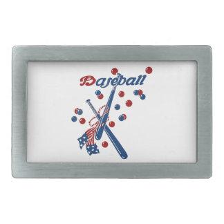 Hebilla De Cinturón Rectangular Barras y estrellas del béisbol del vintage