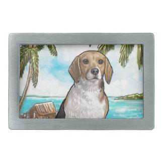 Hebilla De Cinturón Rectangular Beagle en la playa tropical de las vacaciones