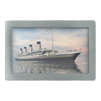 Hebilla De Cinturón Rectangular boat_titanic_close_water_waves_sunset_pink_standar